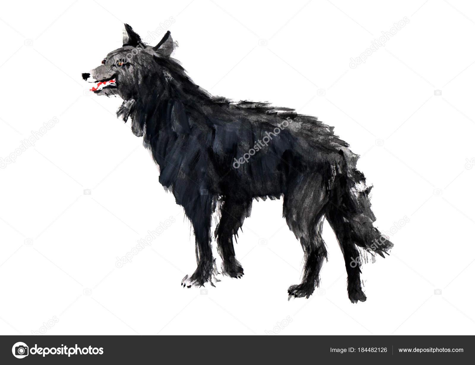 Schwarzer Wolf Mit Gelben Augen Stockfoto Syarkina 184482126