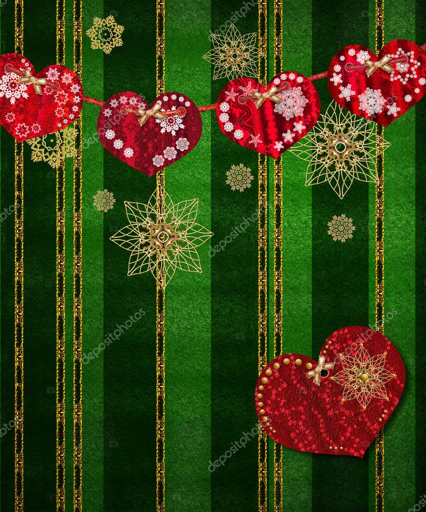 Christmas Greeting Card Ornaments In The Form Of Red Heart On A