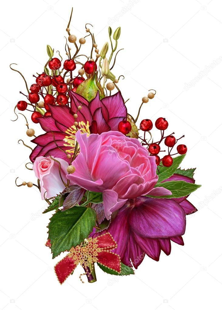 Bouquet De Noel Feuilles De Fleurs De Rose Hellebore Rose Rouge