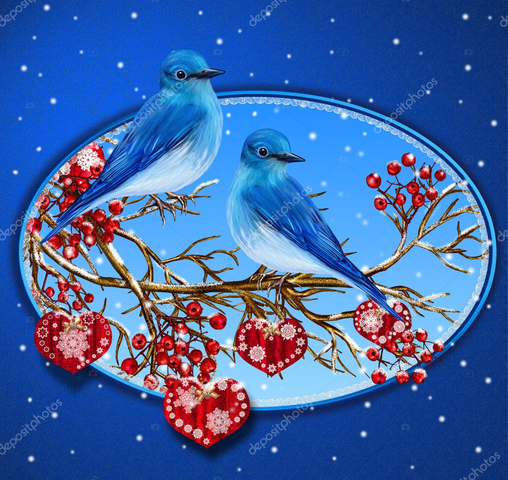 Christmas Greeting Card Two Blue Birds Sitting On A Branch Snow
