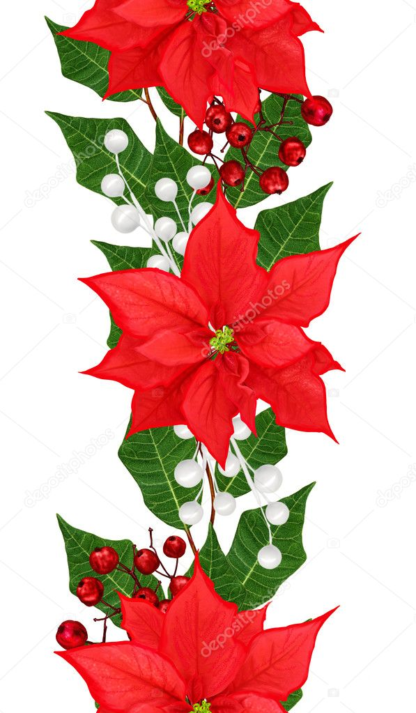Vertical Floral Border Pattern Seamless Weaving From Twigs Red Poinsettia Ornaments Christmas Background Photo By Sokolova