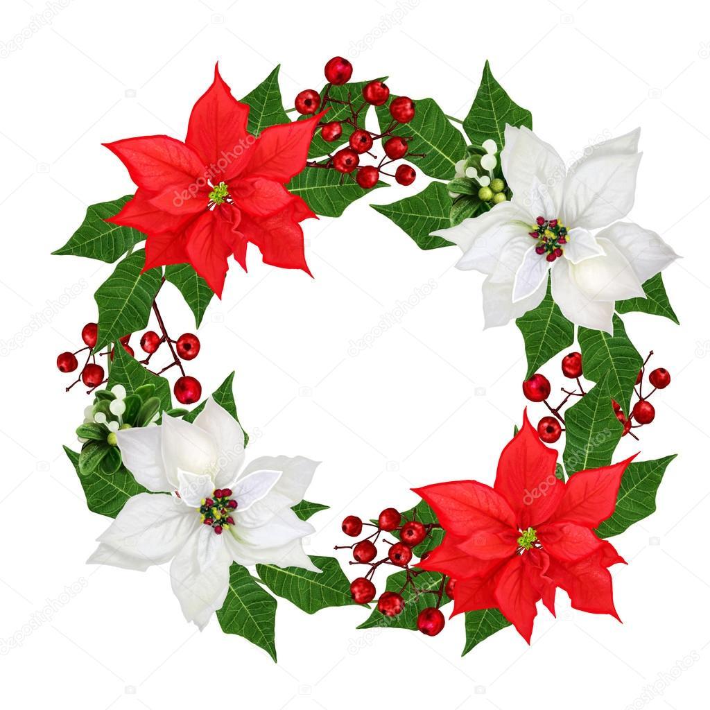 Christmas wreath garland flowers poinsettia red white for 5ft poinsettia garland christmas decoration