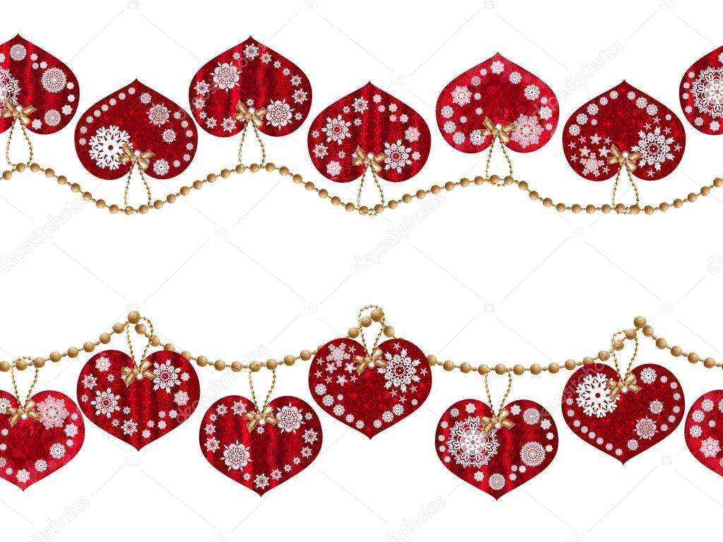 Horizontaler floralen Rahmen. Muster, nahtlos, Weihnachten ...