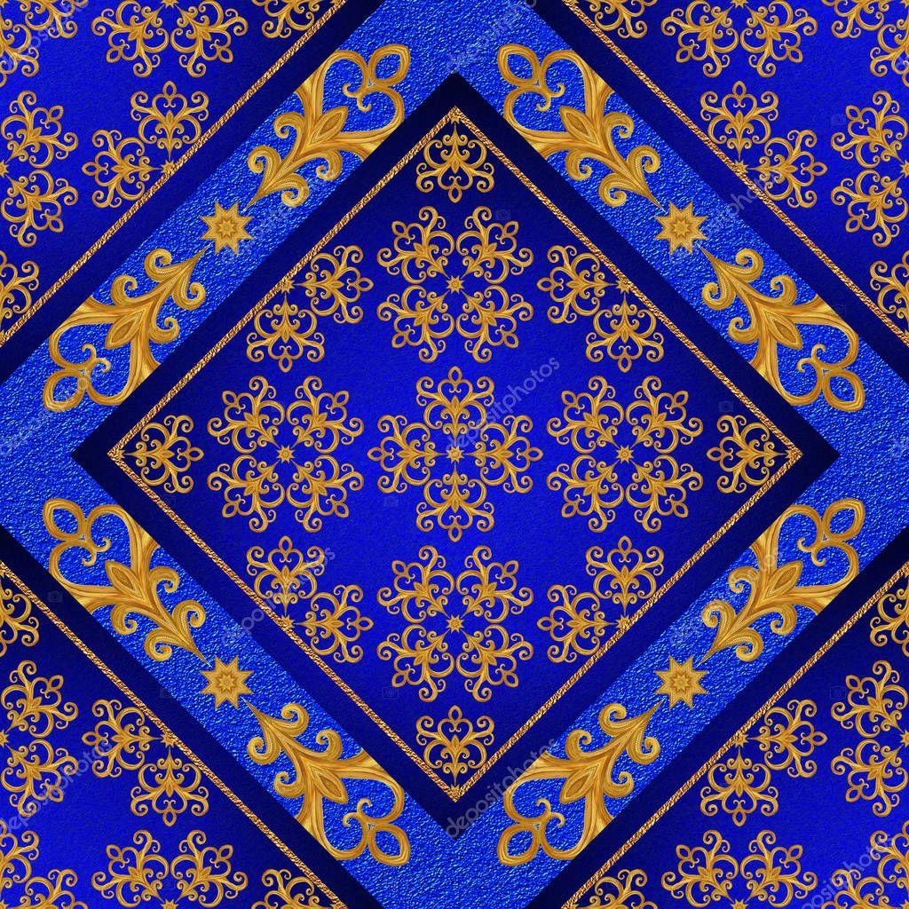 Patrón sin fisuras. Cristales de oro, tejido, arabescos. Arabescos ...