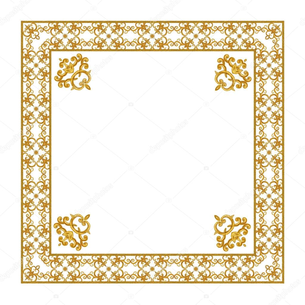 square gold frame brilliant curls elements arabesque arabic oriental style photo by sokolova_