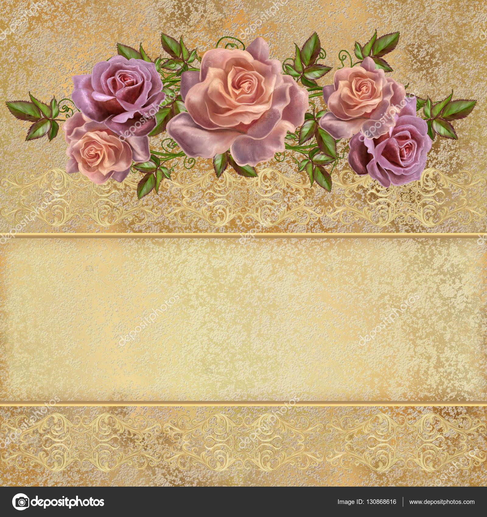Golden vintage background. Flower garlands of pastel roses ...