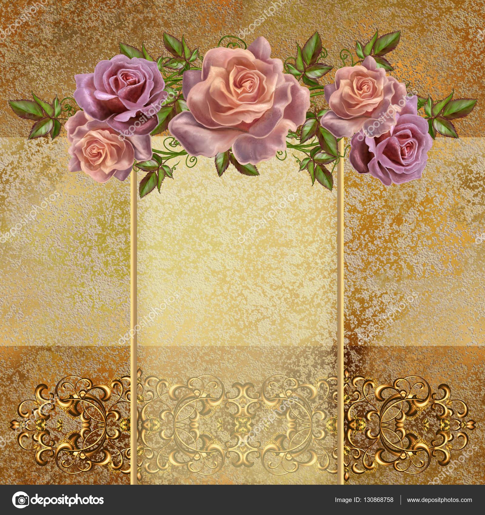 Fondo vintage dorado guirnaldas de flores de rosas pastel for Imagenes retro vintage