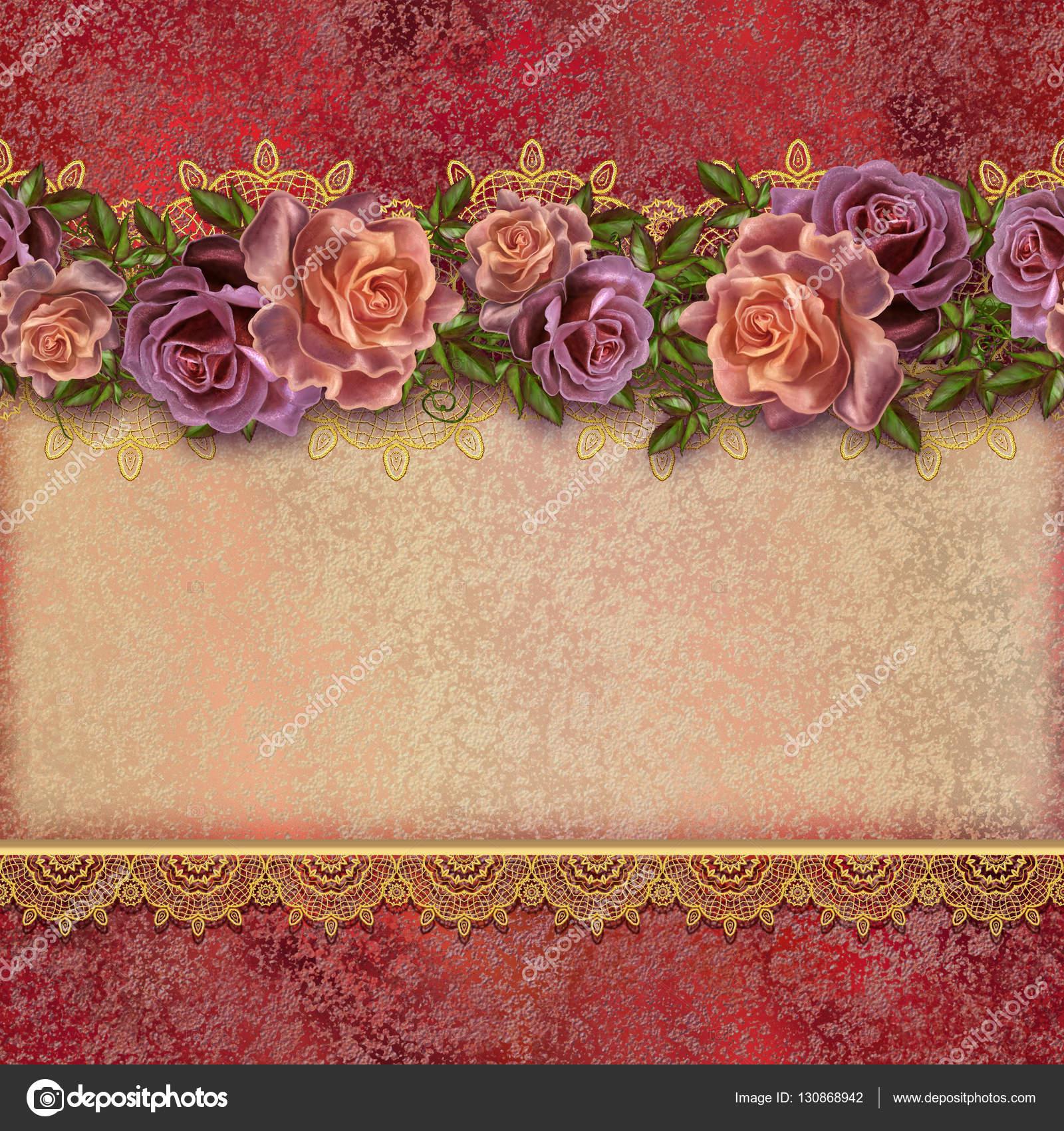 Fundo Dourado Vintage. Guirlandas De Flores De Rosas