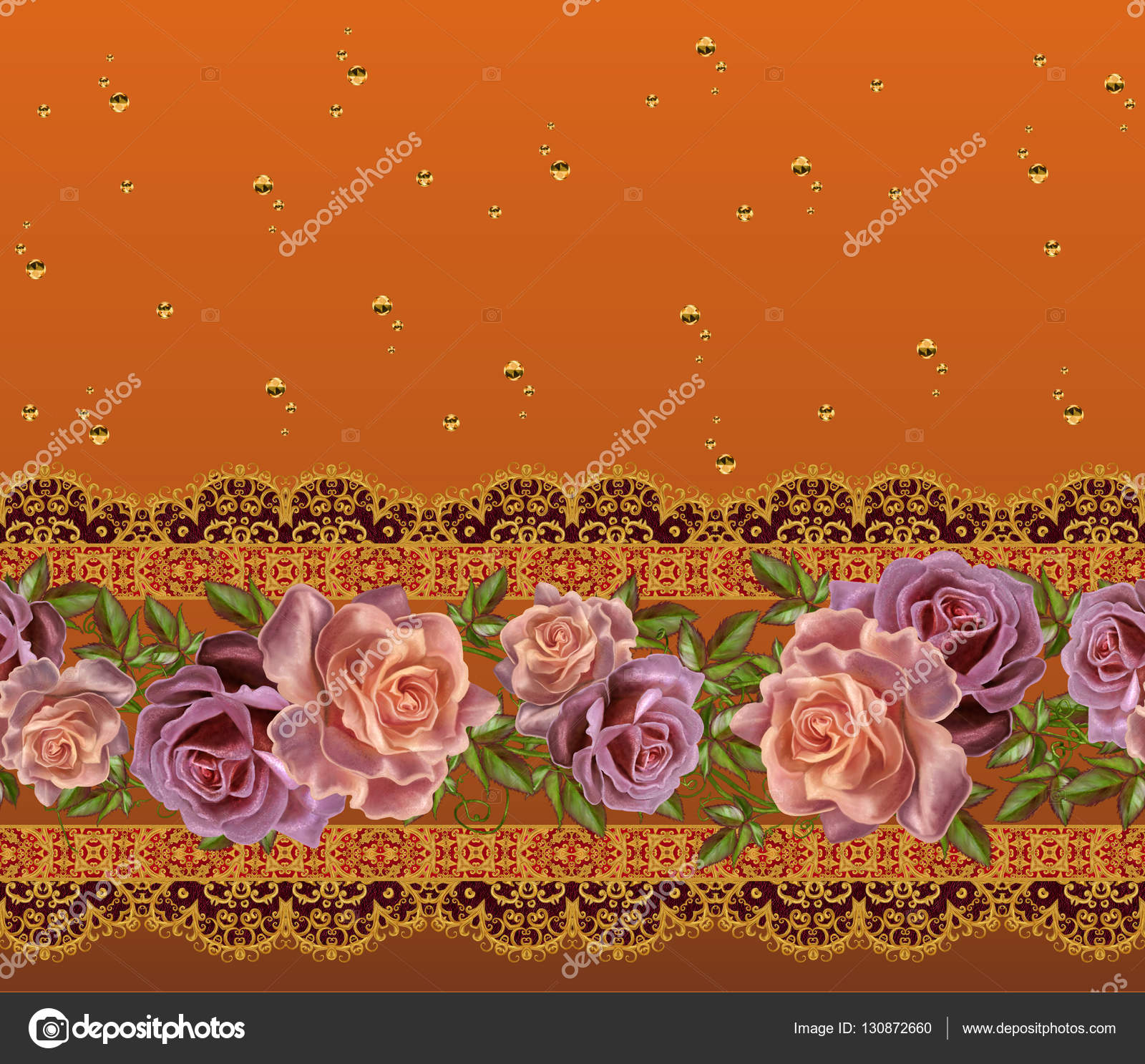 Borda Horizontal Floral. Padrão, Sem Costura. Guirlanda De