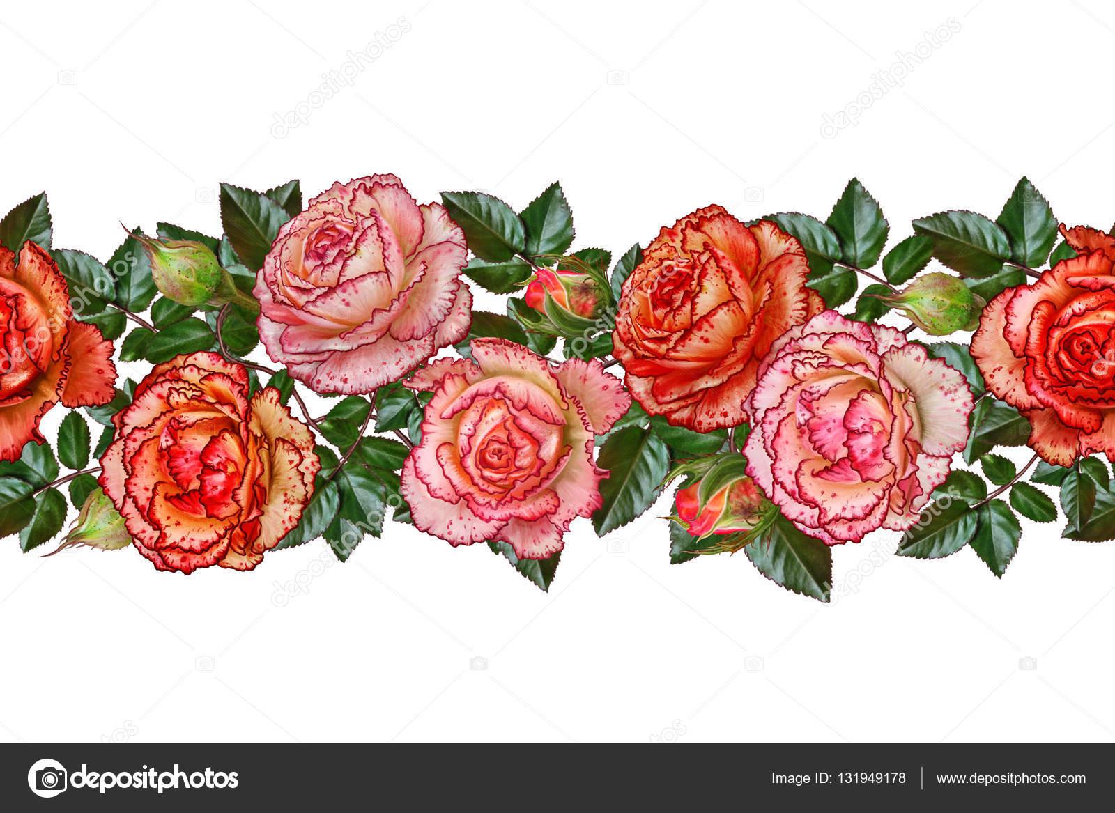 Horizontal floral border pattern seamless garland of flowers horizontal floral border pattern seamless garland of flowers beautiful bright orange rose izmirmasajfo Gallery