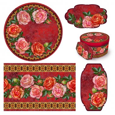 Set for packaging. Box round. Label. decoupage. Floral background. Flower border. Pattern. Mosaic. branch of bright orange roses, old style, gold braiding.