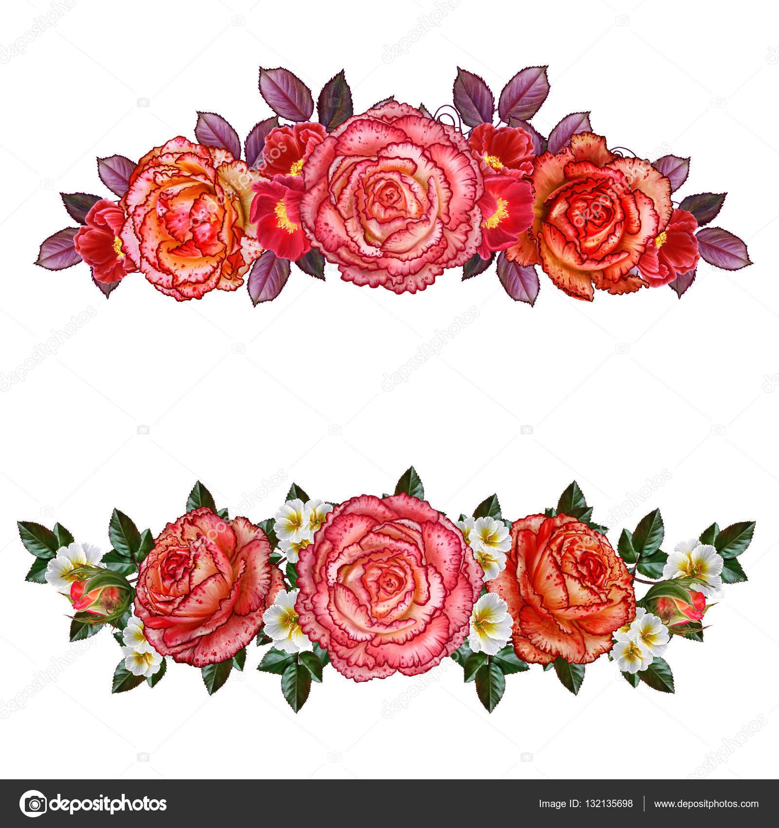 Set. Flower garland composition. Beautiful orange roses, bright ...
