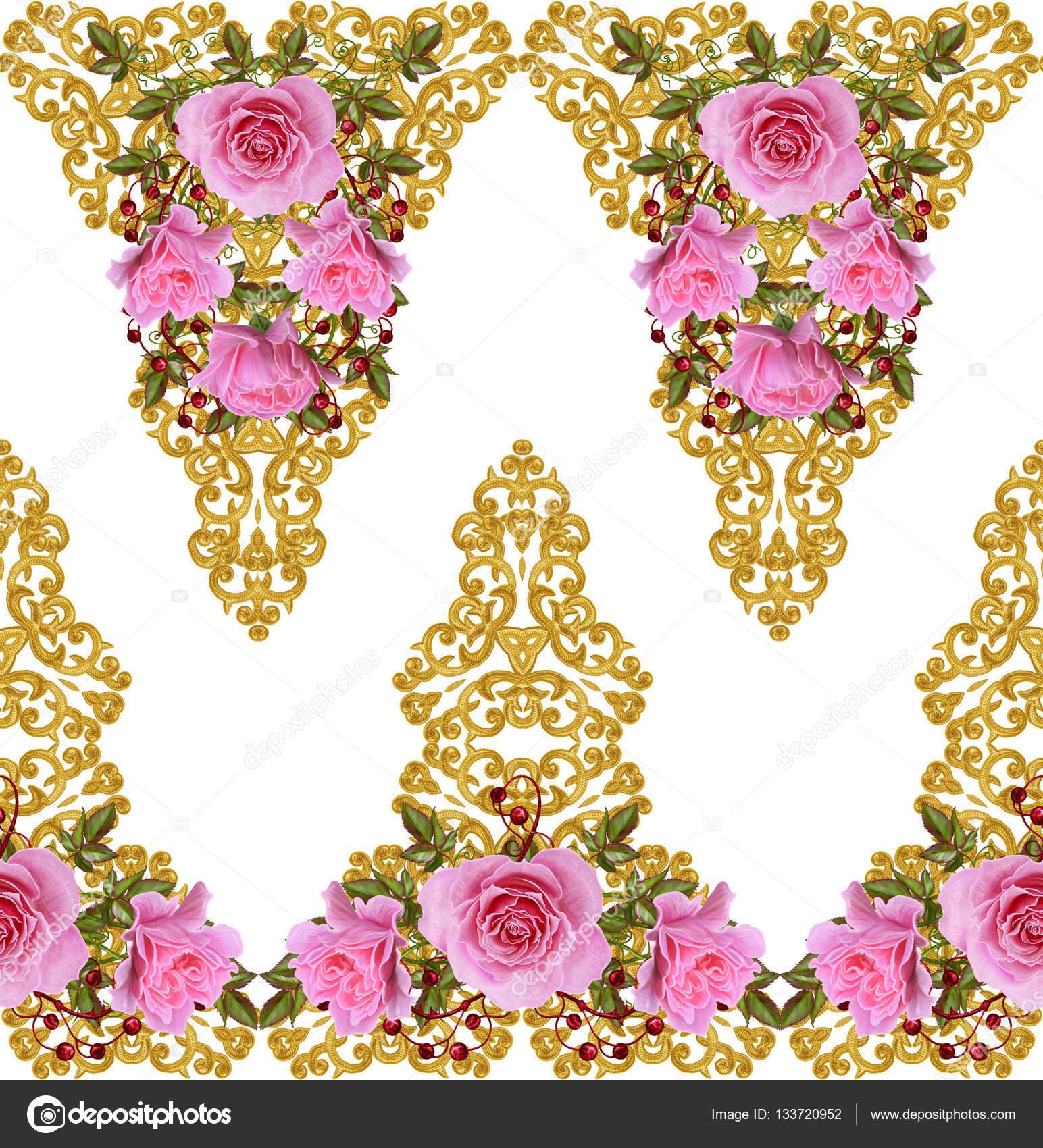 Muster, nahtlose, floralen Rahmen. Girlande aus Blumen. Schöne ...