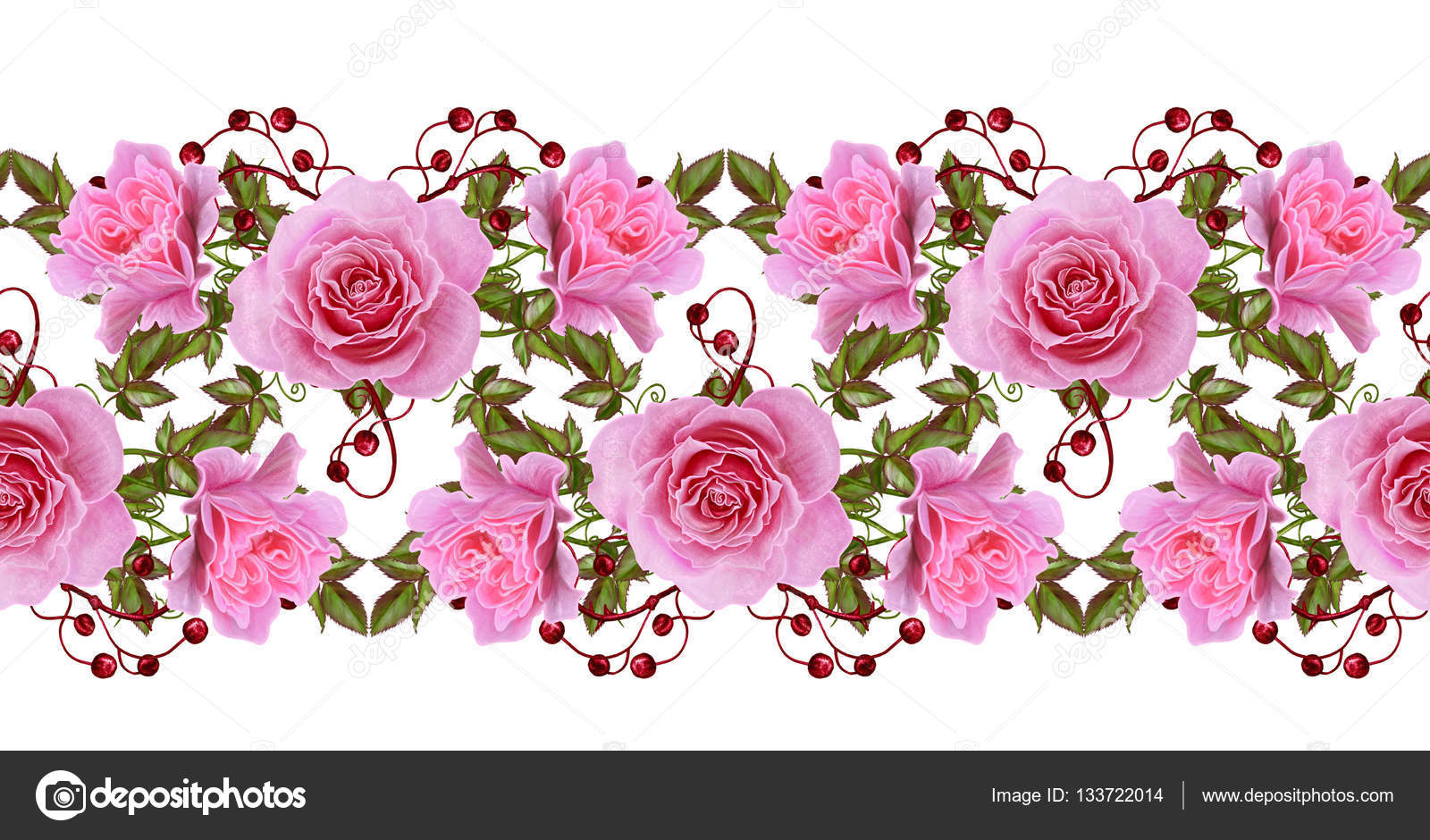 Horizontal floral border pattern seamless flower garland of horizontal floral border pattern seamless flower garland of delicate pink roses green mightylinksfo