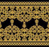 Seamless pattern. Golden textured curls. Oriental style arabesques.