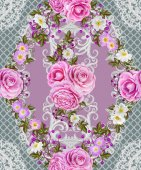 Seamless pattern border. Openwork weaving delicate, silver background, shiny lace, vintage old style arabesques. Edging decorative. Bouquets of pink pastel roses.