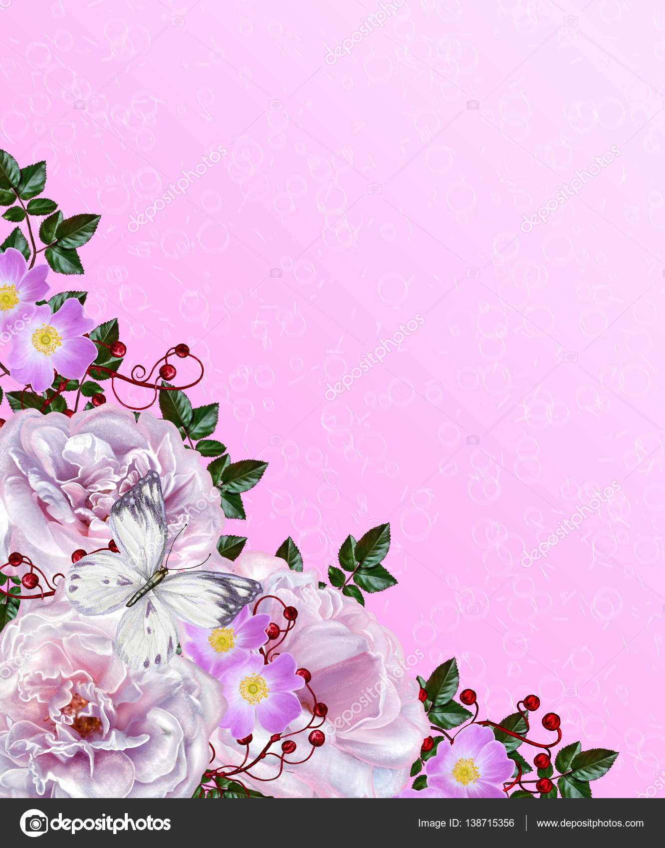 Well known Floral background. Pink pastel colors. The composition of delicate  FG23