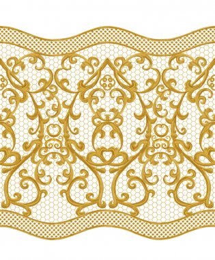 Seamless pattern. Golden textured curls. Oriental style arabesques. Brilliant lace, stylized flowers. Openwork weaving delicate, golden background.