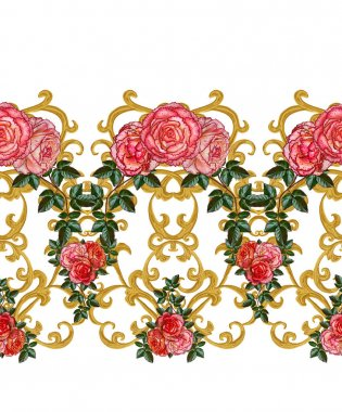 Seamless pattern. Golden textured curls. Oriental style arabesques. Openwork weaving delicate, lace, golden background. Flower arrangement of pink roses and white flowers.