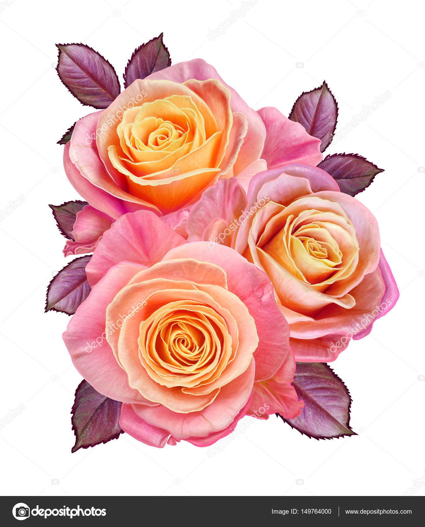 Flower composition a bouquet of beautiful orange yellow pink flower composition a bouquet of beautiful orange yellow pink roses isolated on izmirmasajfo