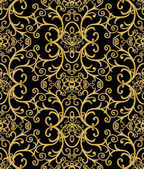 Fotografie Seamless pattern. Golden textured curls. Oriental style arabesques. Brilliant lace, stylized flowers. Openwork weaving delicate, golden black background.