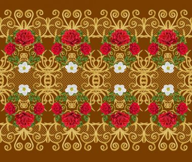 Seamless pattern. Golden textured curls. Oriental style arabesques. Brilliant lace, stylized flowers. Openwork weaving delicate, golden background, composition, garland of red,  and pink roses.