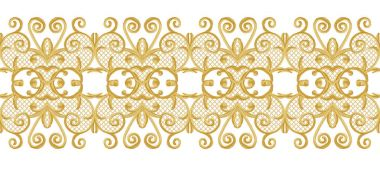 Seamless pattern. Golden textured curls. Oriental style arabesques. Brilliant lace, stylized flowers. Openwork weaving delicate, golden white background.
