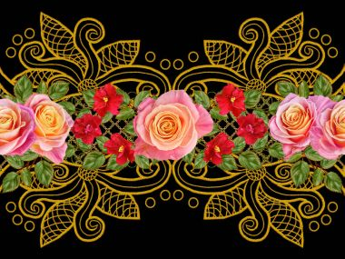 Seamless pattern. Golden textured curls. Oriental style arabesques. Brilliant lace, stylized flowers. Openwork weaving delicate, golden background, composition, garland of red, Pink and yellow roses.