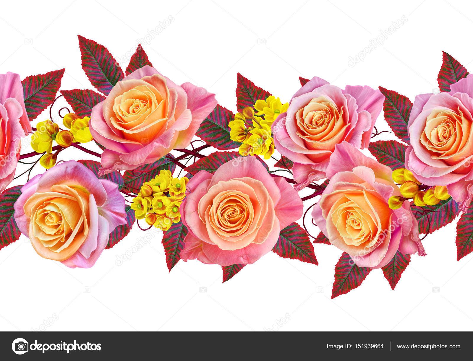 Garland A Bouquet Of Delicate Pink And Yellow Roses Bright Red