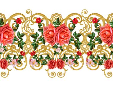 Seamless pattern. Golden textured curls. Oriental style arabesques. Brilliant lace, stylized flowers. Openwork weaving delicate, golden background, composition. Garland delicate pink and yellow roses, bright red flowers