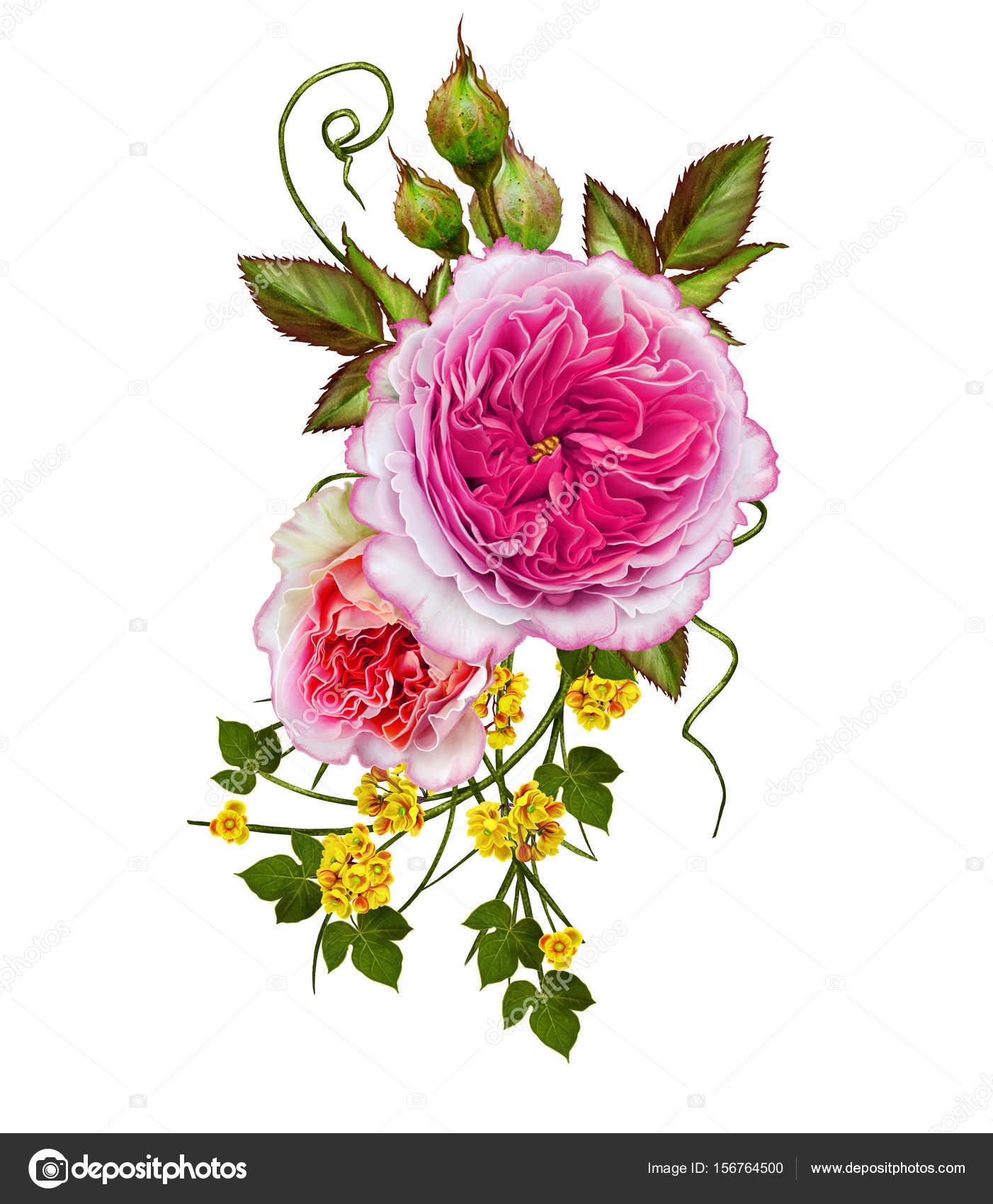 Flower Arrangement Of Delicate Pink Roses Isolated On White