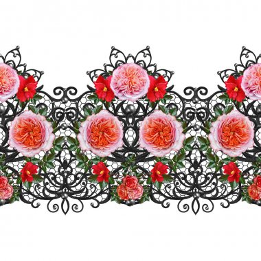 Garland, bouquet of delicate orange roses, bright red flowers.