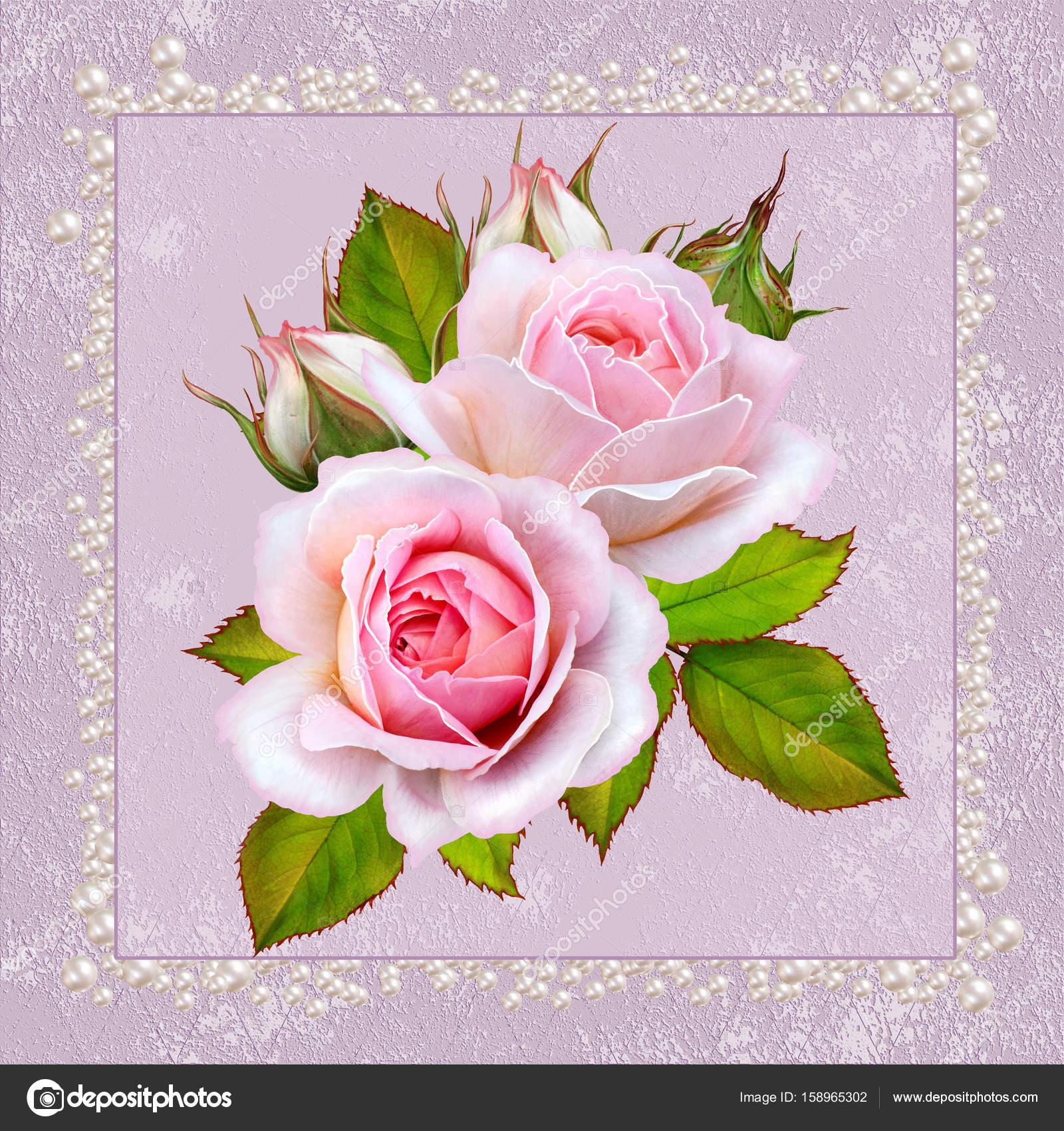 Floral Fond De Voeux Carte Postale Vintage Ton Pastel Vieux Style