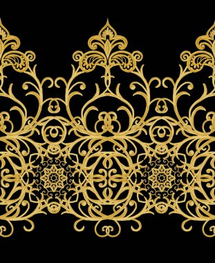 Seamless pattern. Golden textured curls. Oriental style arabesques. Brilliant lace, stylized flowers. Openwork weaving delicate, golden dark background.