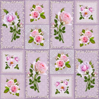 Floral seamless pattern. Square shape, vintage style, beautiful gentle pink roses, flower arrangement, pastel openwork frame, weaving their beads and pearls.