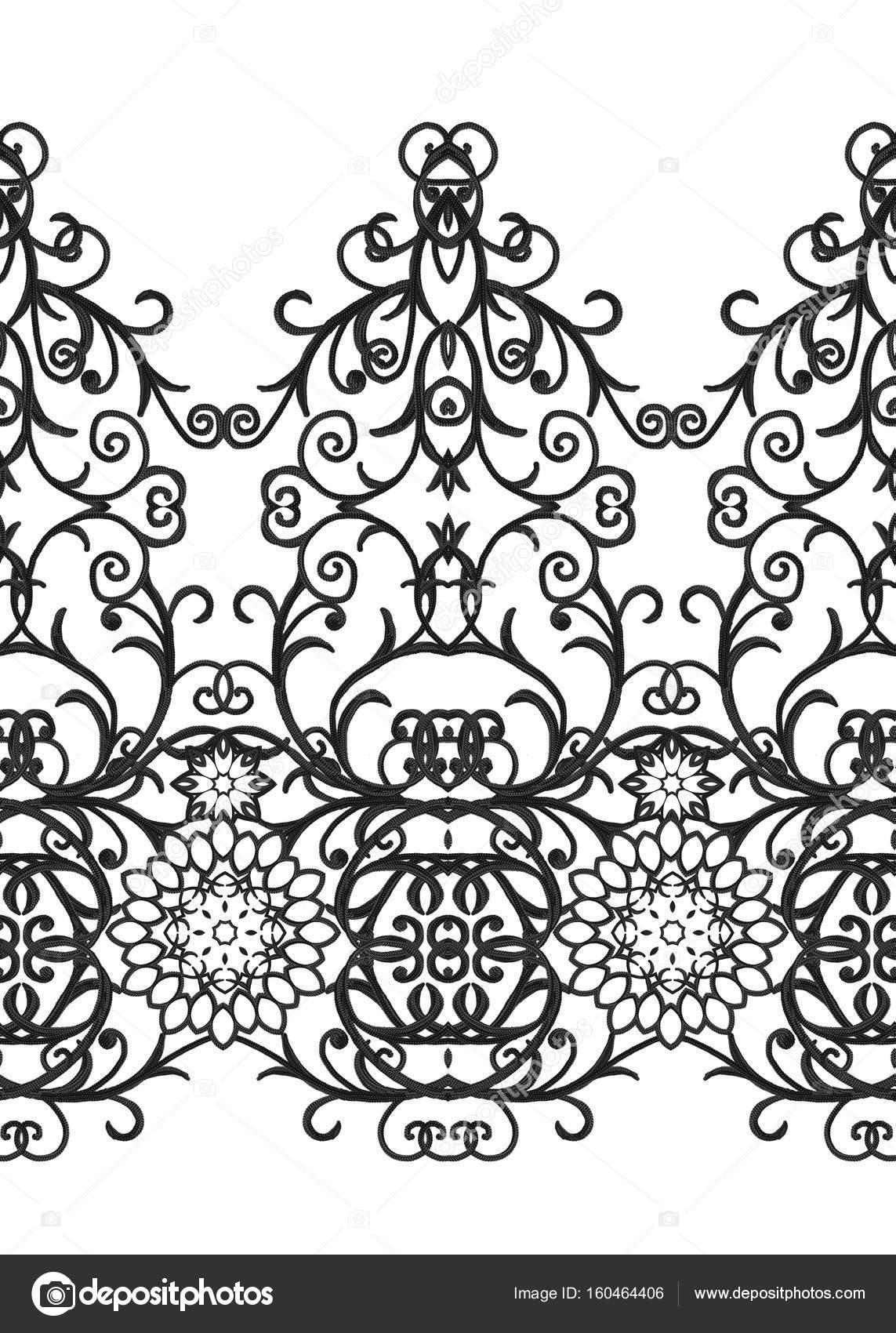 Frontera de patrones sin fisuras. Calado tejido delicado, negro de ...