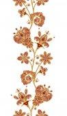 Fotografia Seamless pattern  border. Golden textured curls. Brilliant lace, stylized flowers. Openwork weaving delicate, golden background, Paisley.