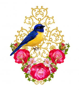 Golden textured curls. Oriental style arabesques. Brilliant lace, stylized flowers. Openwork weaving delicate. Flower arrangement of bright red roses and pink flowers. A blue bird sits on a branch. stock vector