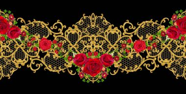 Golden textured curls. Oriental style arabesques. Brilliant lace, stylized flowers. Openwork weaving delicate. Garland of dark velvet red roses. Horizontal seamless floral pattern.