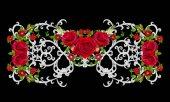 Silver lace, openwork weaving, curls. Garland of dark velvet red roses. Openwork weaving delicate.