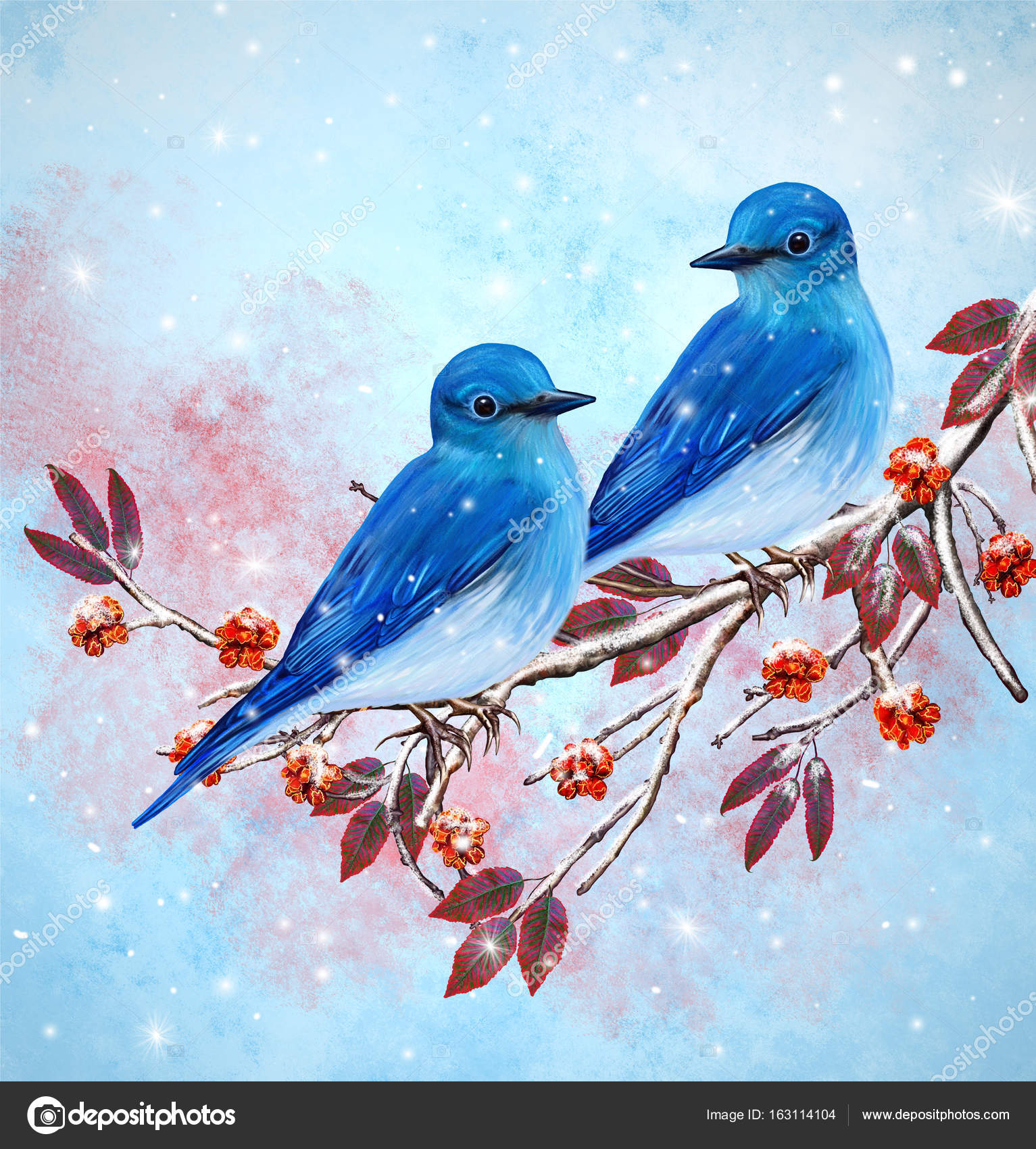 Christmas Greeting Card Two Bright Bird Bullfinch Bird Sitting On A