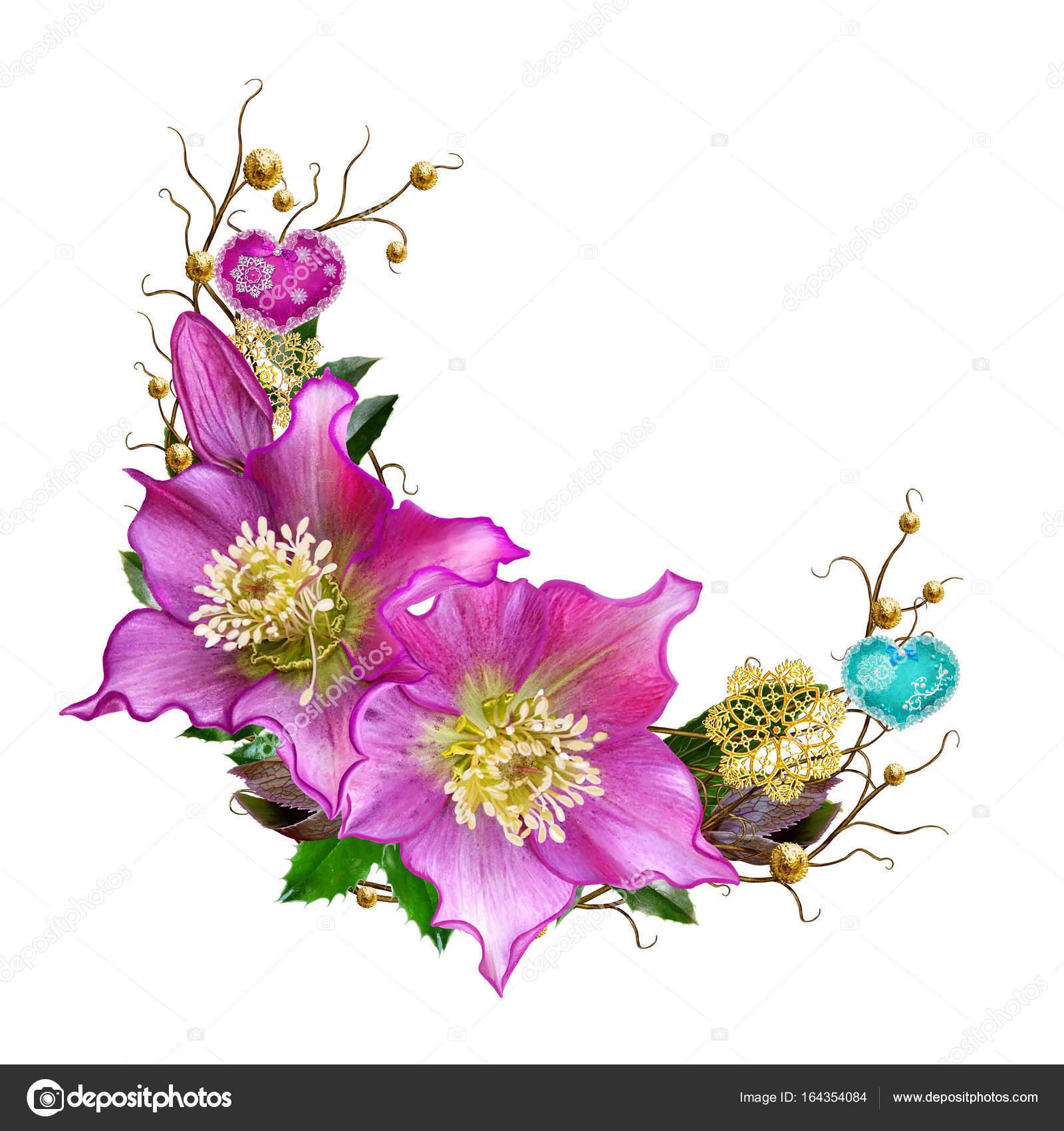 Guirnalda flor de elboro de invierno flores decorado con adornos