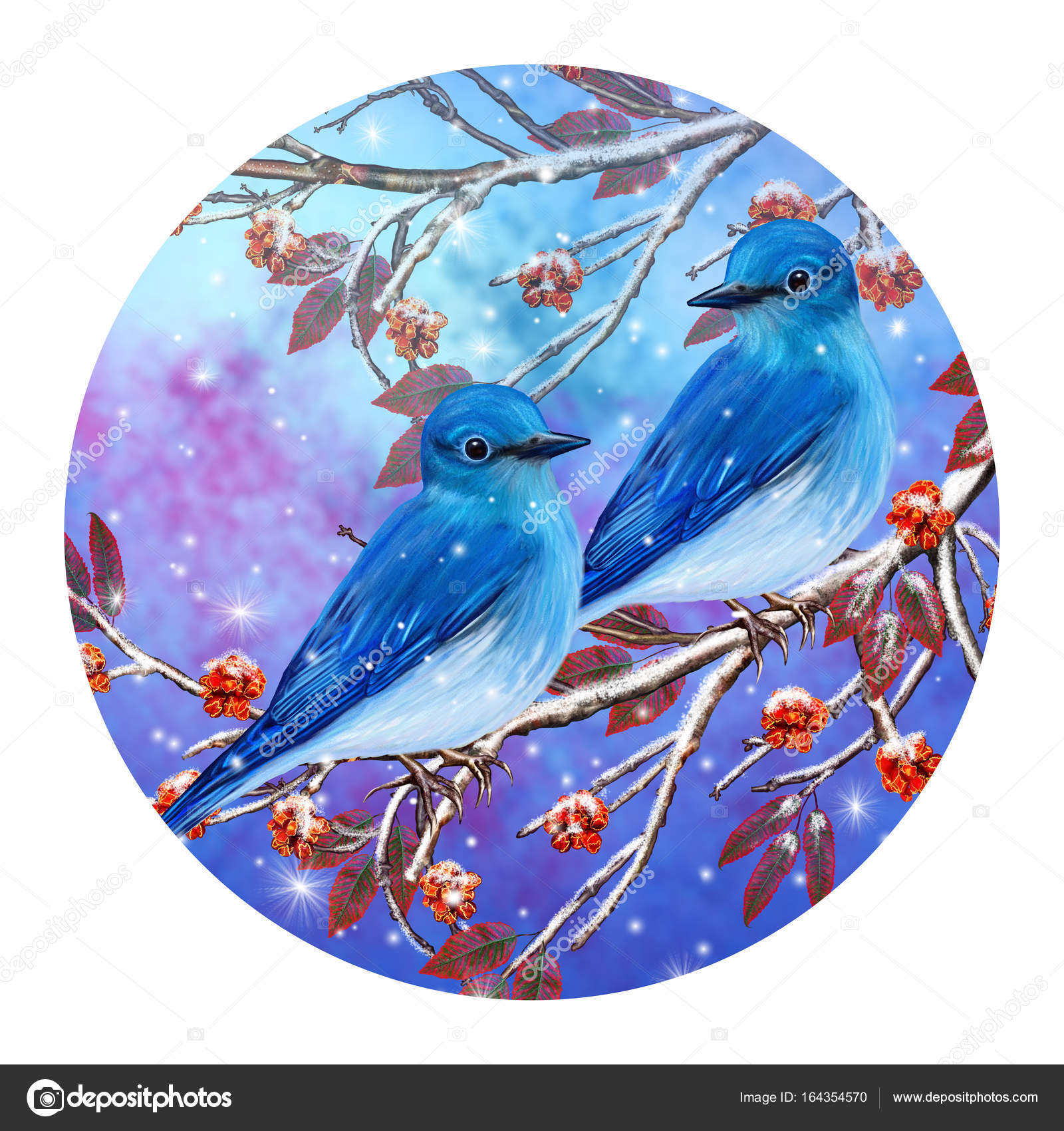 Christmas Greeting Card Winter Background A Small Bird Of The Tit