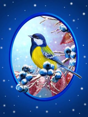Christmas greeting card. Winter background. A small bird of the tit sits on a snow-covered branch, blue berries, red leaves.