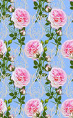 Fotografie Floral seamless pattern. Flower arrangement, bouquet of delicate beautiful pink roses, green  leaves,  Lacy openwork patterns.