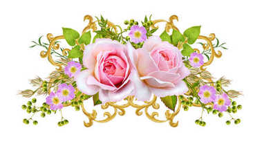 Golden textured curls. Oriental style arabesques. Brilliant lace, stylized flowers. Openwork weaving delicate. Garland of delicate pink roses, green leaves, branches with berries.