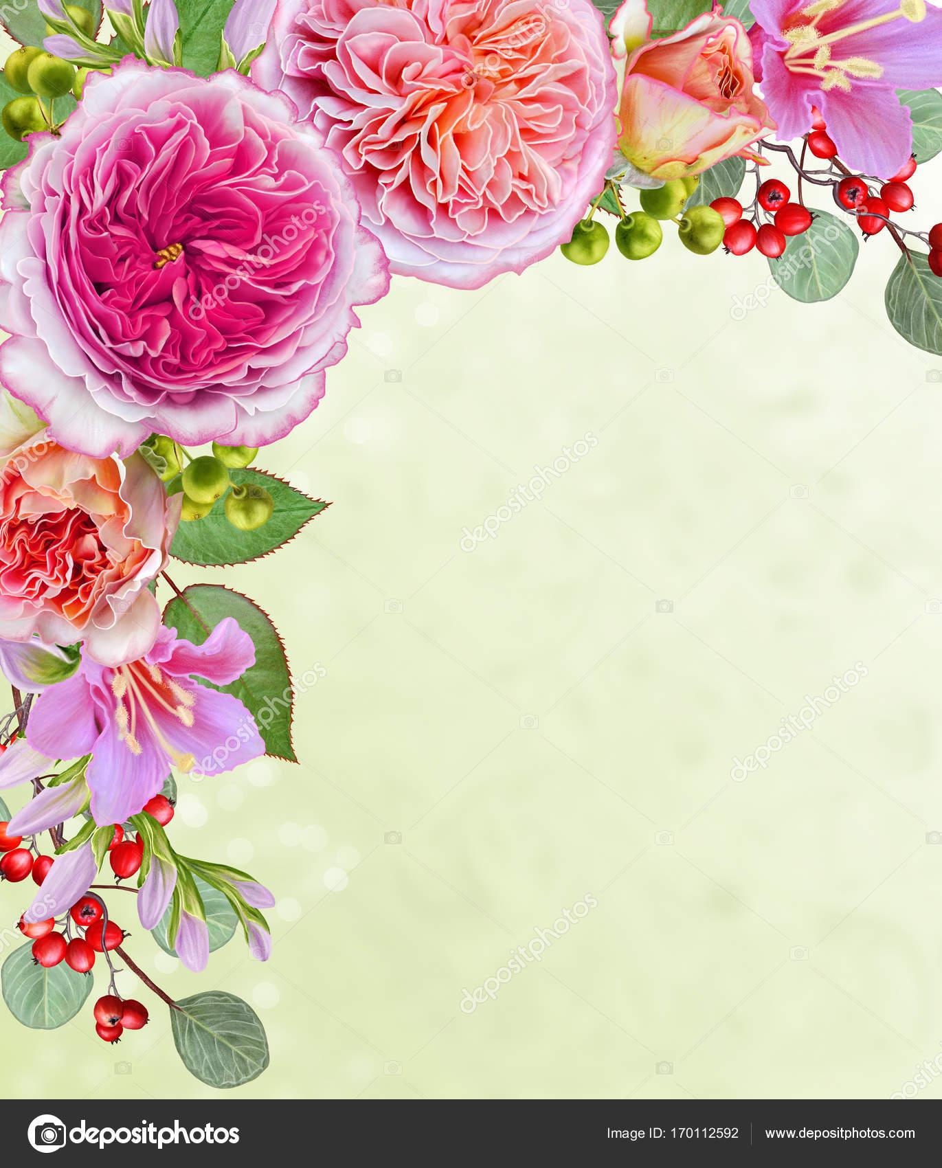 Открытка с благодарностью цветы и ягоды в букете 27