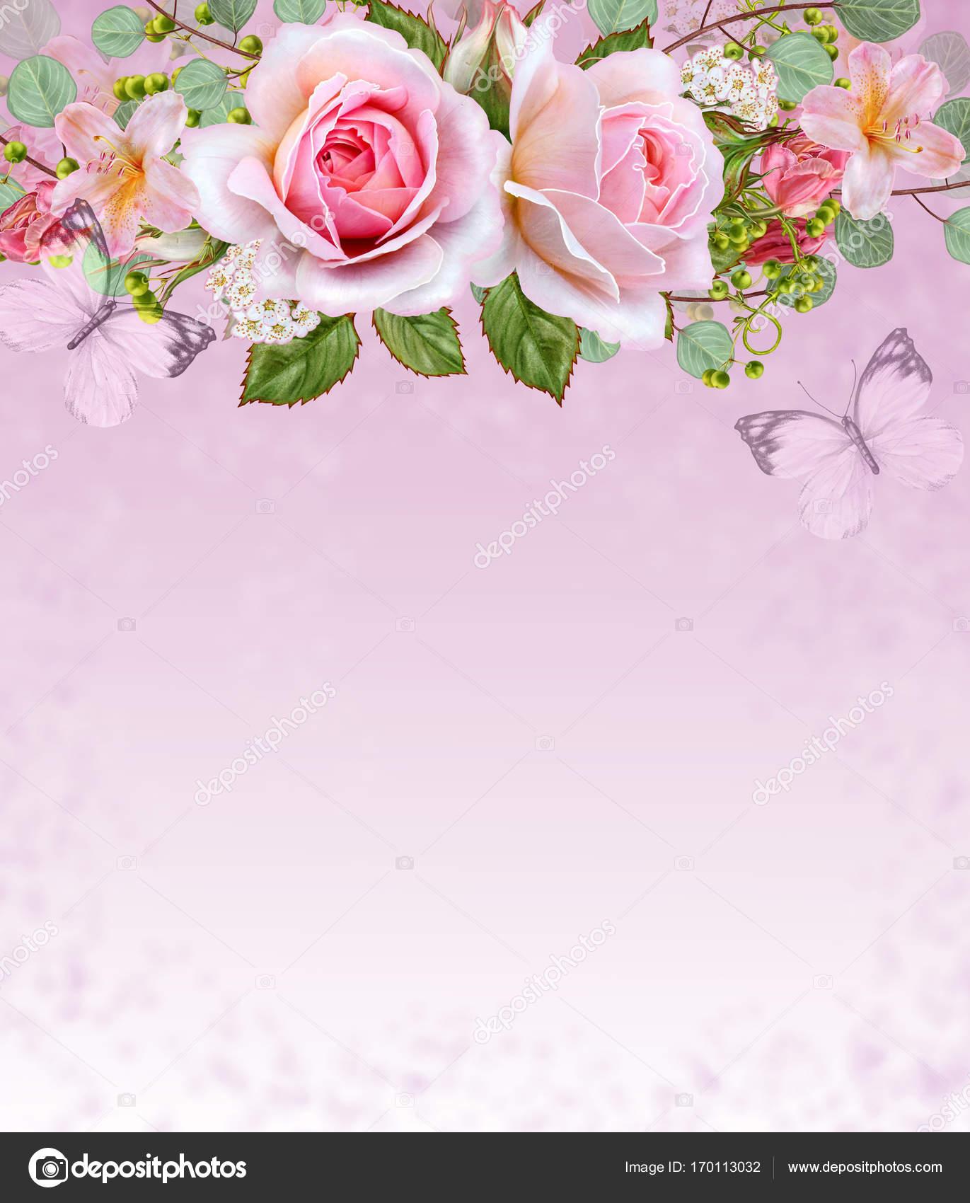Открытка с благодарностью цветы и ягоды в букете 51