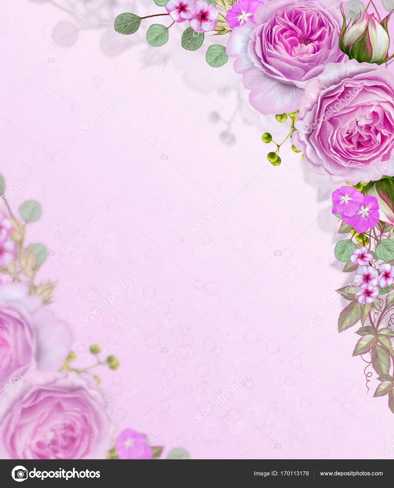 Floral Background Garland Of Flowers Tender Pink Roses Berries