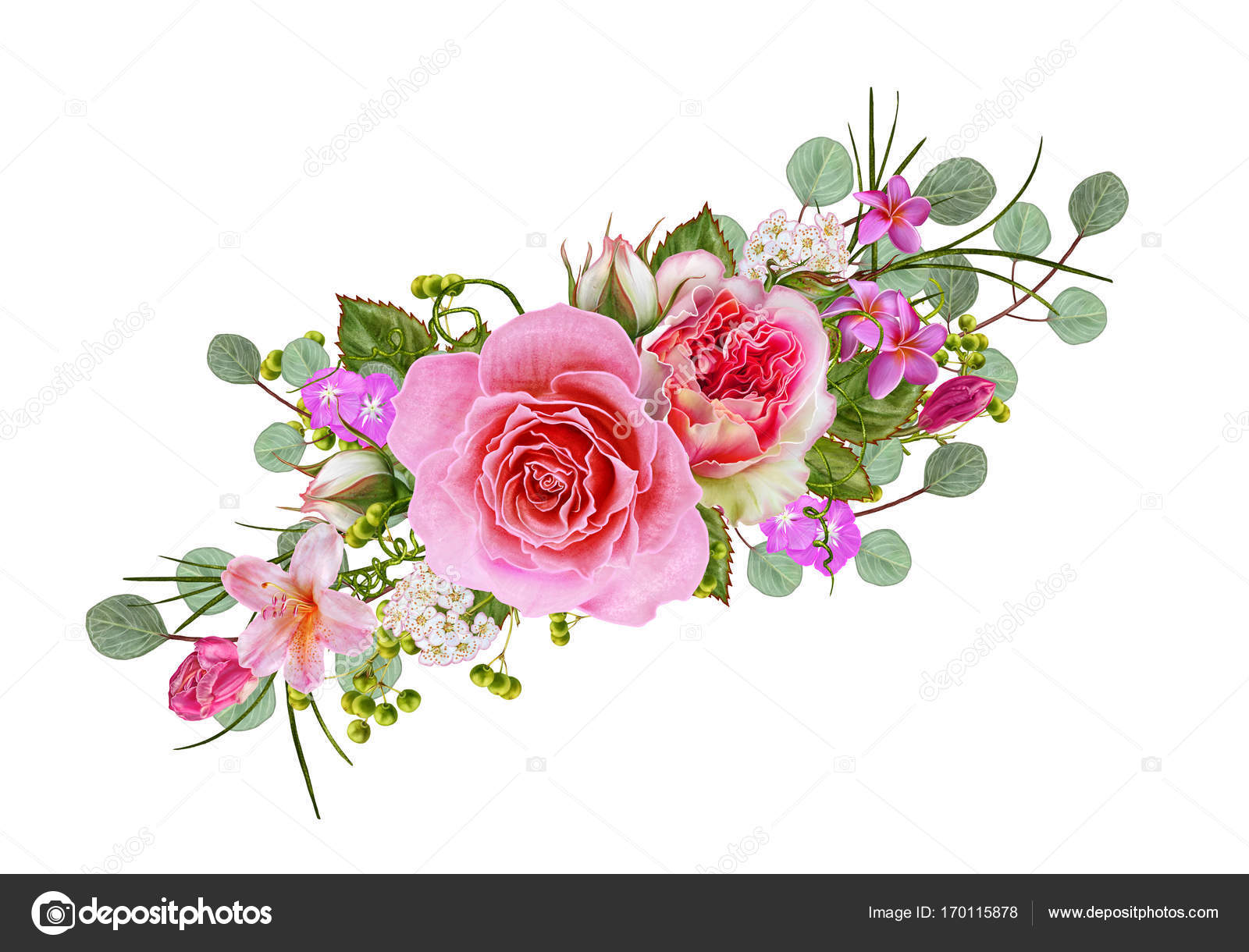 Flower Composition Wreath Garland Of Delicate Beautiful Pink Roses And Green Leaves Isolated On White Background Stock Photo Image By C Sokolova 170115878